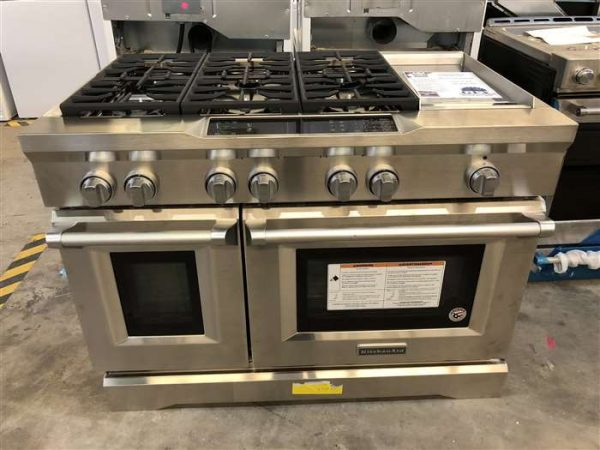 Kitchenaid Commercial Style Slide In Double Oven Dual Range Ss Gfy